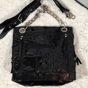 Donald Pliner black patent leather bag